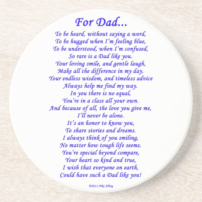 For Dad Sandstone Coaster