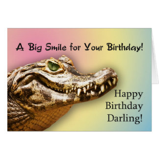 For Darling, a smiling alligator birthday card