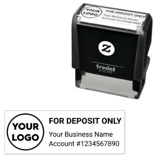 For Deposit Only with Company Logo Business Bank Self-inking Stamp