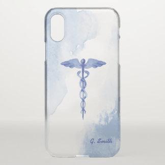 For Doctors & Nurses. Medical Caduceus Watercolor. iPhone X Case