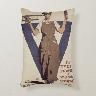 For Every Fighter a Woman Worker Decorative Pillow
