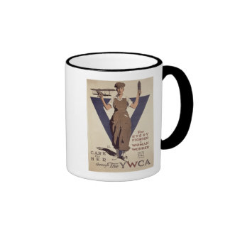 For Every Fighter a Woman Worker Ringer Mug