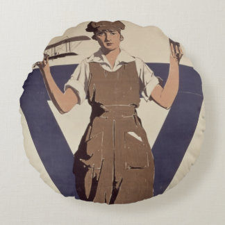 For Every Fighter a Woman Worker Round Pillow