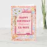 """For ex-wife, craft birthday card<br><div class=""""desc"""">Say Happy Birthday with a delightful scrap-booking crafts card. With lots of flowers,  butterflies,  and even a friendly caterpillar,  this card is sure to delight. Copyright Norma Cornes.</div>"""