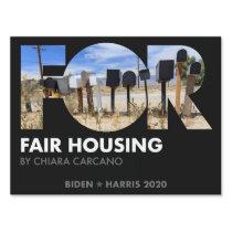 FOR Fair Housing, Chiara Carcano, Biden 2020 Sign