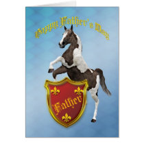 For Father, Father's Day card with a rearing horse