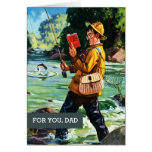For Father on Father's Day. Vintage Fishing Scene Card