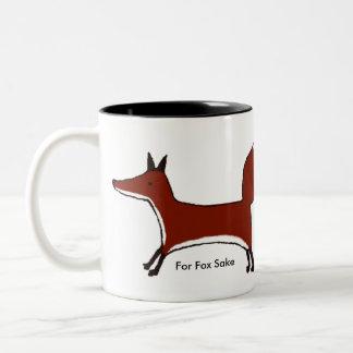 For Fox Sake - wraparound image - Kawaii Kitsune Two-Tone Coffee Mug