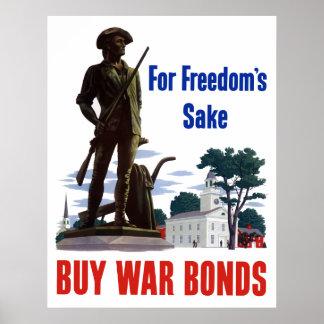 For Freedom's Sake - Buy War Bonds Print