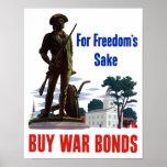 For Freedom's Sake Buy War Bonds -- WWII Poster