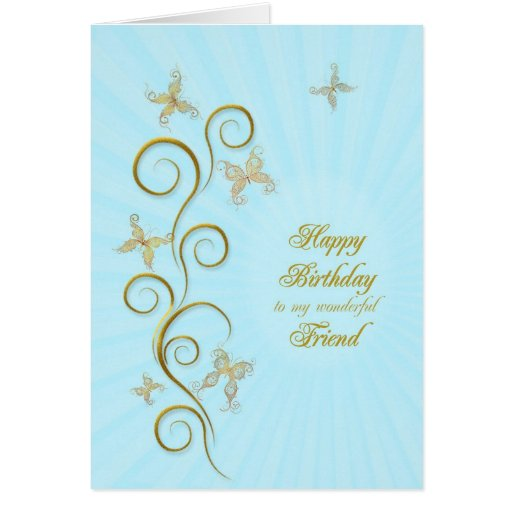For friend, Birthday with golden butterflies Greeting Card