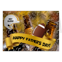 for Friend Father's Day Football and Beer Card