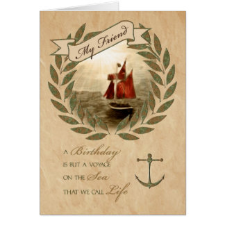For Friend on their Birthday Sailing Card