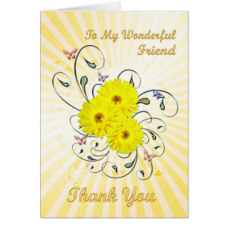 For friend, Thank you card with yellow flowers