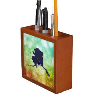 For Gifts: Alaska Flag Map Pencil/Pen Holder
