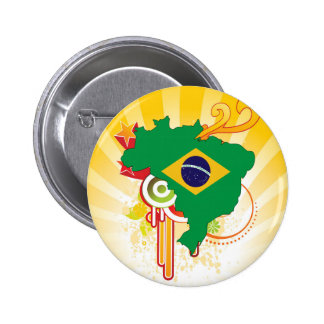 For Gifts: Brazil Flag Map 2 Inch Round Button