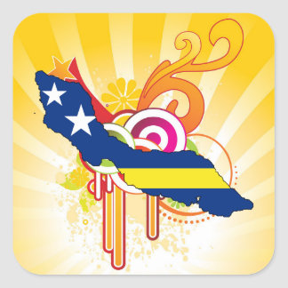 For Gifts: Curacao Flag Map Square Sticker
