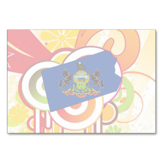 For Gifts: Pennsylvania Flag Map Table Cards