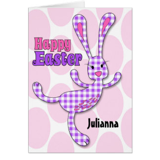 for Girls - Custom Name Easter Bunny in Purple Card