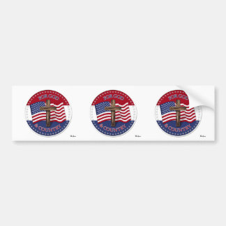 For God And Country - Cross with 50 stars US Flag Bumper Sticker