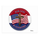 For God And Country - Cross with 50 stars US Flag Postcard