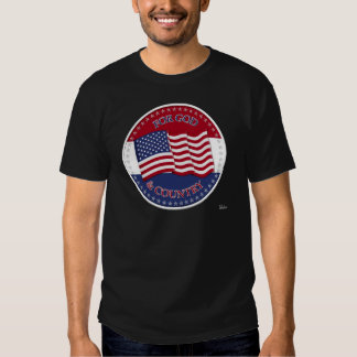 For God And Country - round with 50 stars US Flag Tee Shirt