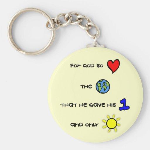 For God so Love the World Christian keychain
