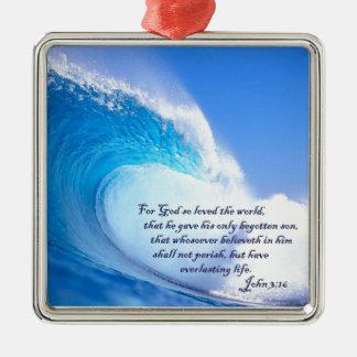 For God So Loved John 3:16 Ocean Waves Design Metal Ornament