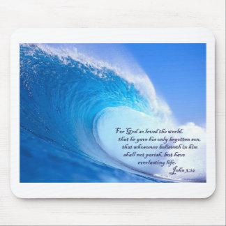 For God So Loved John 3:16 Ocean Waves Design Mouse Pad
