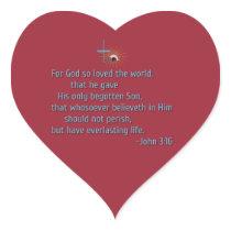For God So Loved the World Heart Sticker