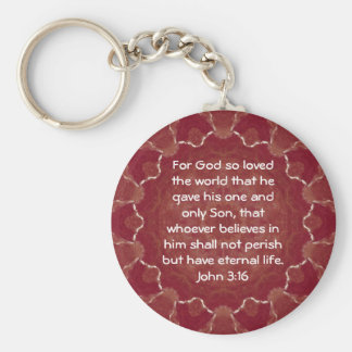 For God so loved the world ...   John 3:16 Basic Round Button Keychain