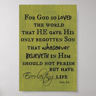 For God so Loved the World John 3.16 Bible Verse Print