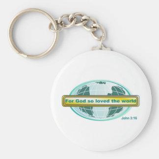For God so loved the world, John 3:16 Keychain