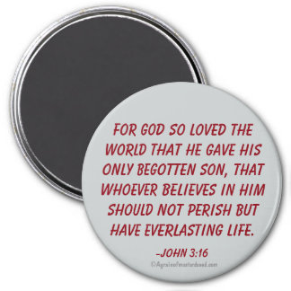 For God so loved the world John 3:16 Magnet