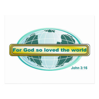 For God so loved the world, John 3:16 Postcard