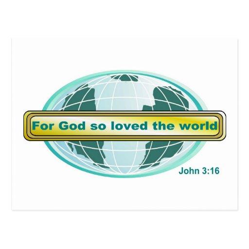 For God so loved the world, John 3:16 Postcard