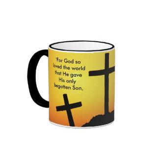 """""""For God so loved the world ..."""" Ringer Mug"""