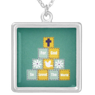 For God So Loved The World Square Pendant Necklace