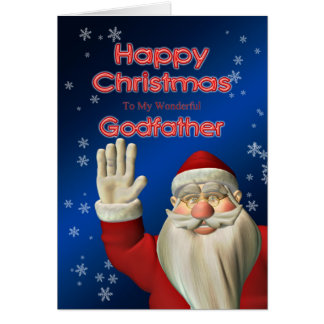 For godfather, a Santa waving Christmas card