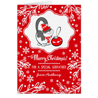 For Godfather at Christmas Custom Greeting Cards