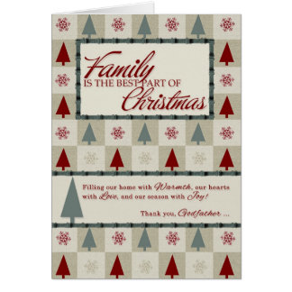 for Godfather Retro Green and Red Christmas Card