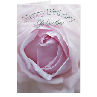 For Godmother, a Birthday card with a pink rose