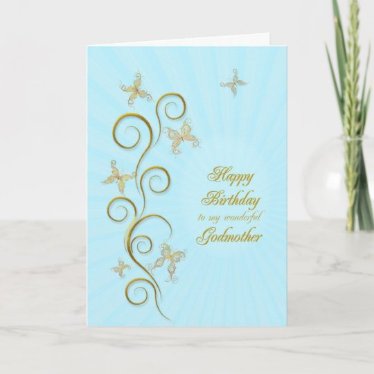 For Godmother Birthday With Golden Butterflies Card