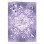 For godmother, lilac birthday card with flowers