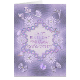 For godmother lilac birthday card with flowers