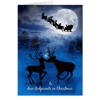 for Godparents Kissing Reindeer on Christmas Card