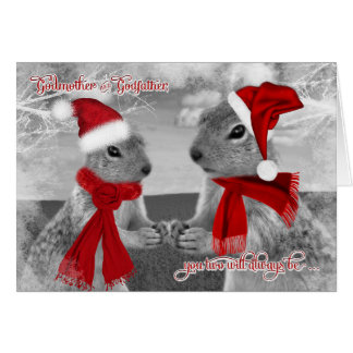 for Godparents Romantic Christmas | Squirrel Love Card