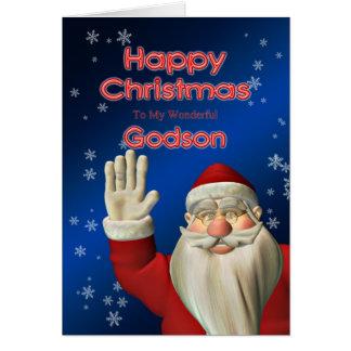 For godson, a Santa waving Christmas card