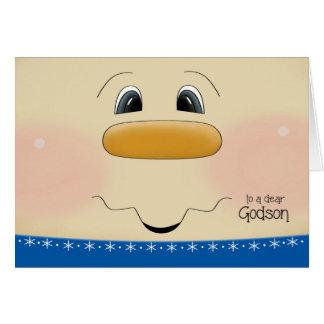 For Godson Christmas Happy Snowman Face Card