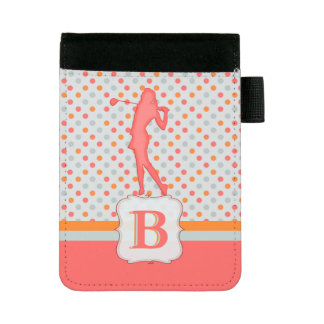 For Golf Scores and Notes Polka dots Monogram Mini Padfolio